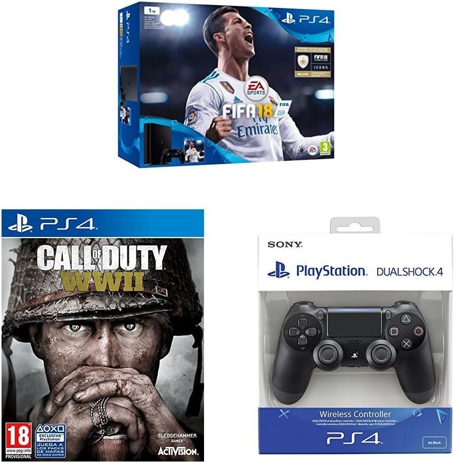 Sony, PlayStation 4 (PS4) - Consola de 1 TB + FIFA 18 + COD WWII + Dualshock 4 Mando Inalámbrico, Color Negro V2: Amazon.es: Videojuegos