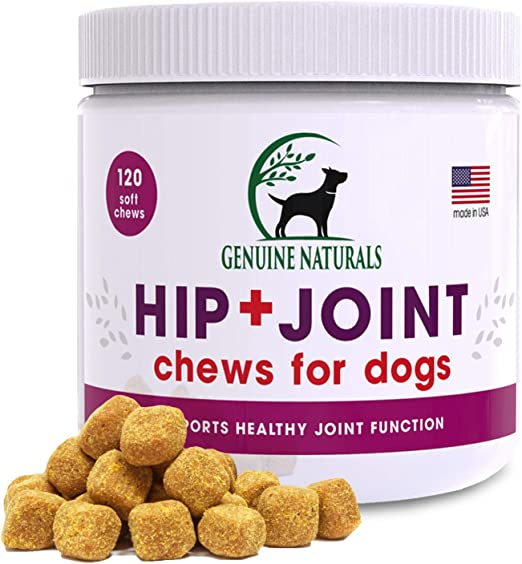 Genuine Naturals Glucosamine Chondroitin, MSM, Organic Turmeric Soft Chews, Hip and Joint Supplement for Dogs, Supports Healthy Joint Function and Helps with Pain Relief, 120-Count