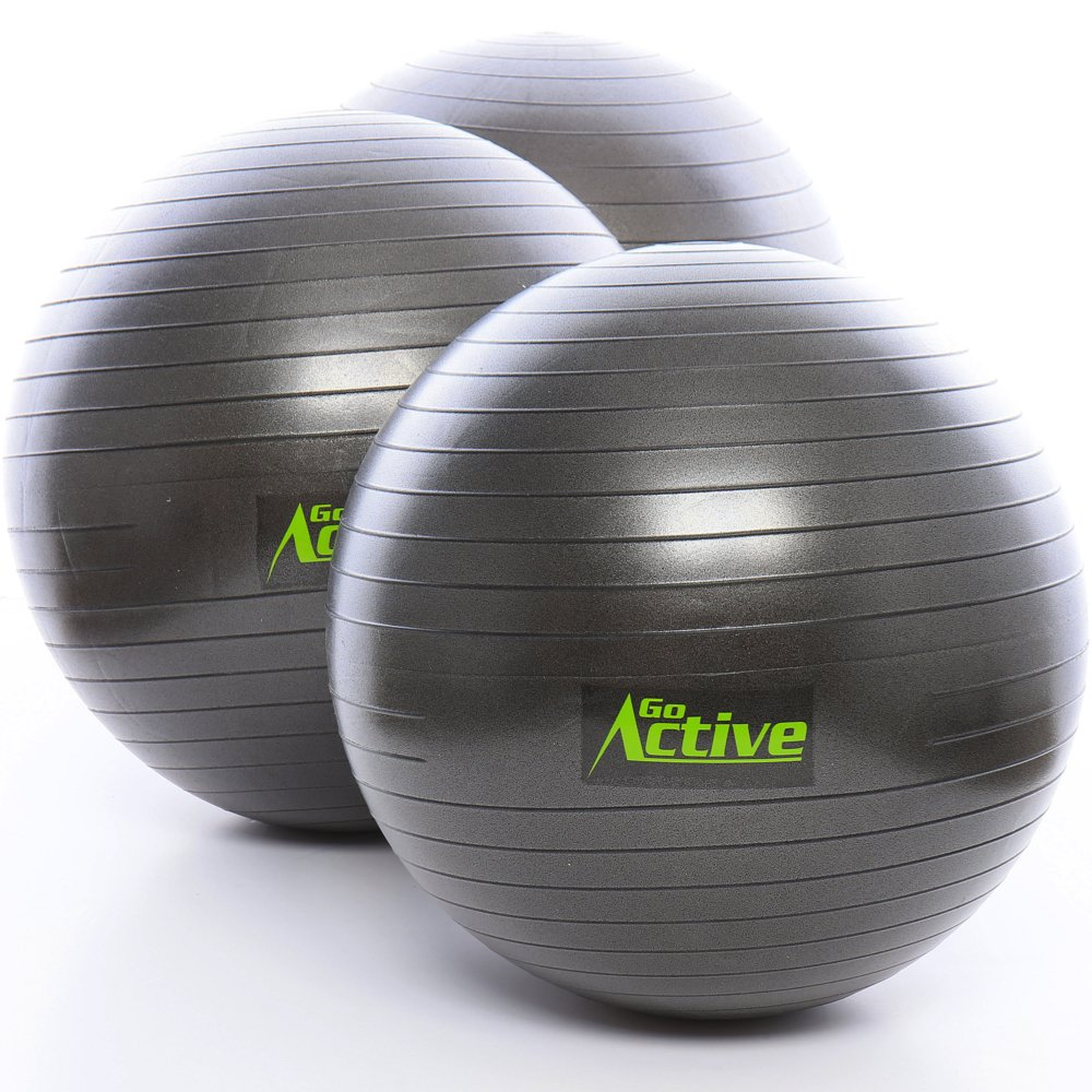 GO Active Lifestyles Exercise Ball - Stability Ball - Fitness Ball - Large Workout Balls For Balance And Yoga - Includes Pump - Anti Burst - 2000 lbs Weight Resistance (75 cm)