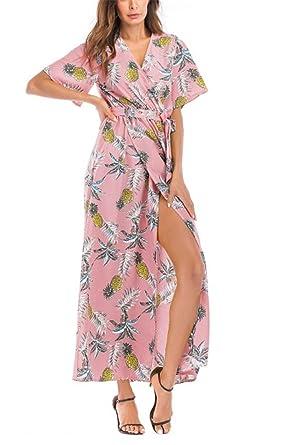 db7cda010067 WLITTLE Women s Vintage Dress Irregular Dress Beach Sarong Tunic Slip Split Dresses  V Neck Short Sleeve