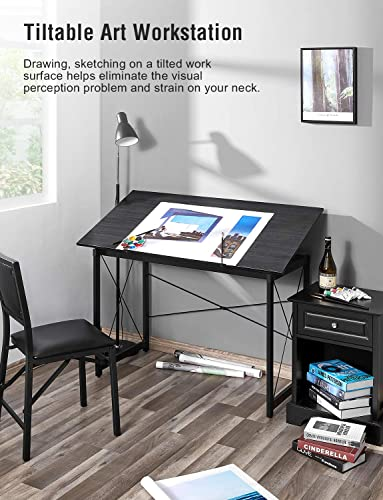 Kealive Drawing Desk Tiltable 47.2 x 23.6 Large Drafting Table Desk Wood Surface Professionals Kids Adults Painting