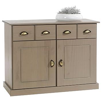 5662bd35b39ce3 IDIMEX Buffet Paris Commode bahut vaisselier avec 2 Portes battantes et 2  tiroirs pin Massif lasuré