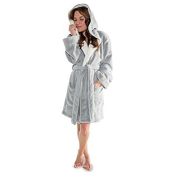 gemütlich frisch das beste heiß seeling original CelinaTex Miami Damen Bademantel mit Kapuze XS grau - creme weiß Mikrofaser  Coral Fleece Sauna Morgenmantel 5000358