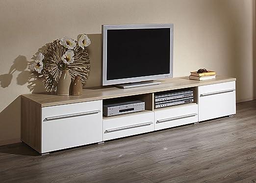 Dreams4Home bajo Elif L, TV-Armario Mueble de televisión con Puerta corredera Muebles TV Element 200 cm Roble/Blanco Brillante: Amazon.es: Hogar