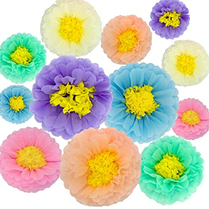 Tissue Paper Flowers Decorations For Baby Shower Birthday Party Wall Background Decoration 12pcs Assorted Sizes Unicorn