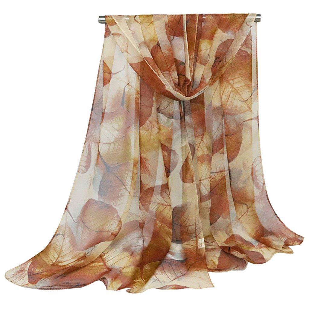 JAGENIE Damen Georgette Schal Blätter Printed Long Schal Muslimischen Hijab Elegant 160x50cm Army Green