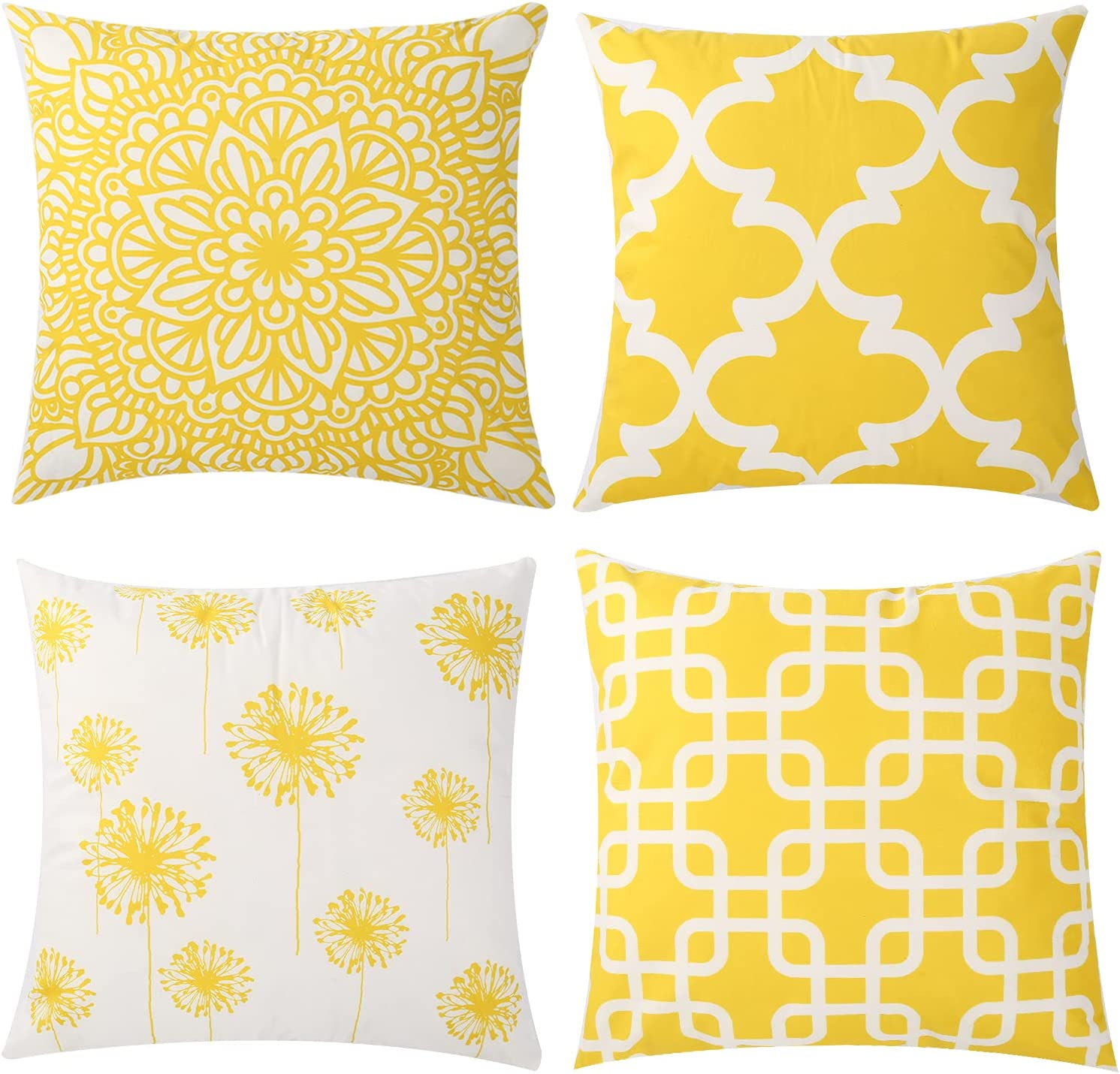 Percy Wind Set of 4 Throw Pillow Covers Modern Decoration Pillow Case Cushion Cover for Bedroom Sofa Car Home Decor Geometric Accent Cushion Square Pillowcase 18 x 18 inches (Yellow)