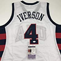 $199 » Autographed/Signed Allen Iverson United States USA White Olympics Basketball Jersey JSA COA