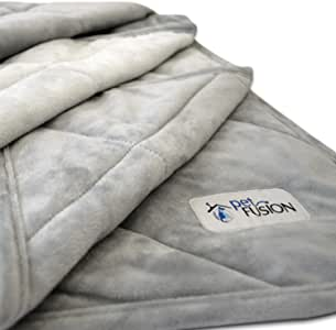 PetFusion Premium Plus Quilted Pet Blanket Blanket, Multiple Sizes for Dogs & Cats. [Light Inner Fill 70GSM, Reversible Gray Micro Plush]. 100% Soft Polyester