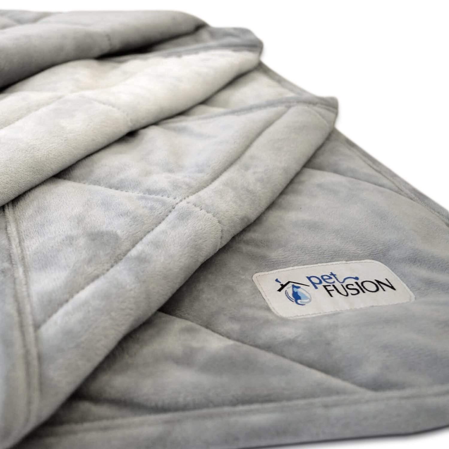 PetFusion Premium Plus Quilted Medium Dog Blanket (42x34''). Light Inner Fill 70GSM, Reversible Gray Micro Plush. [100% soft polyester]