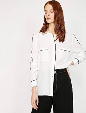 85015ad46734a Koton Kadın Gömlek, Kirli Beyaz, Üretici Ölçüsü: 34