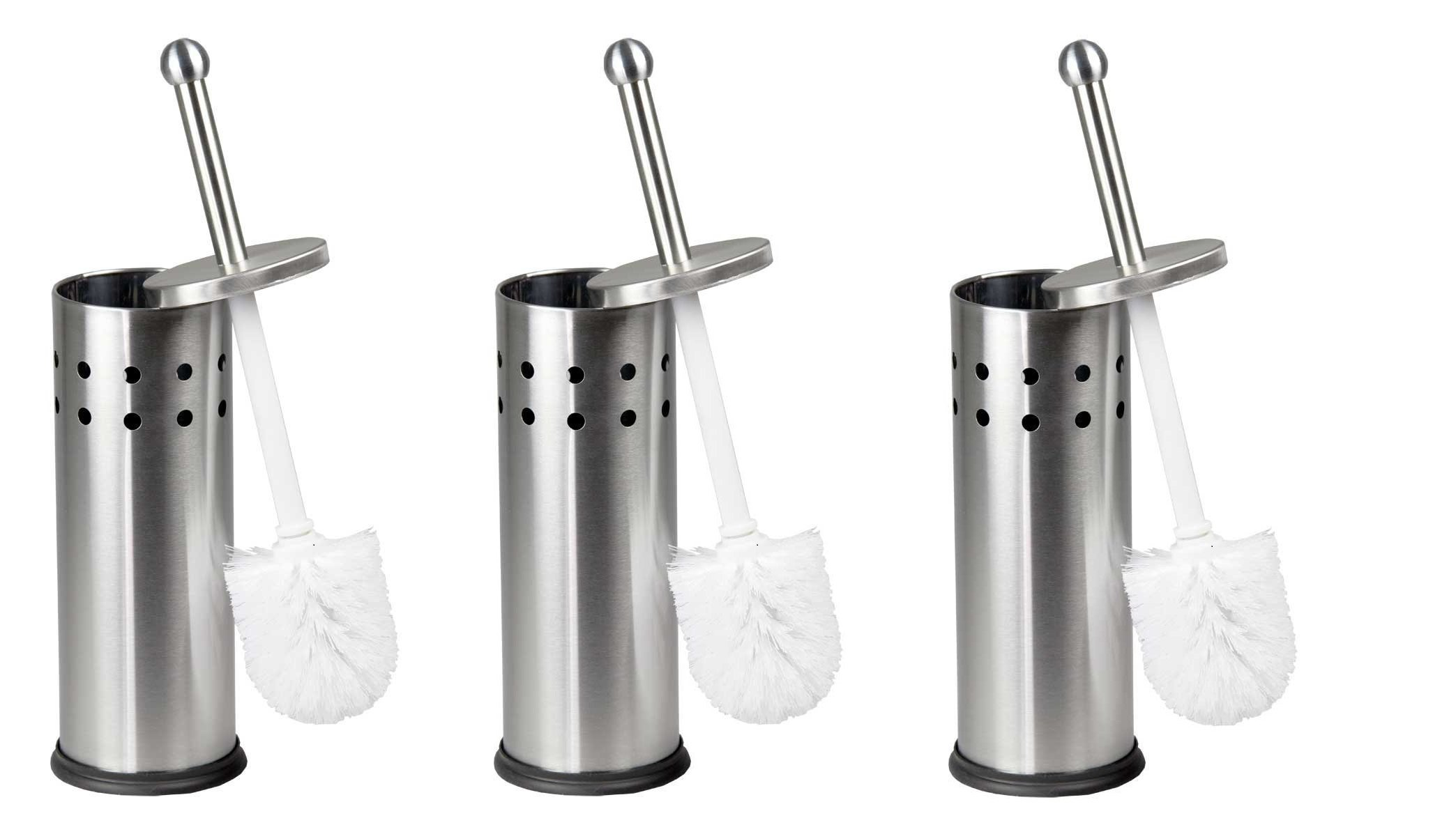 Home Basics Vented Stainless Steel Toilet Brush Holder (Pack of 3) by Home Basics (Image #1)