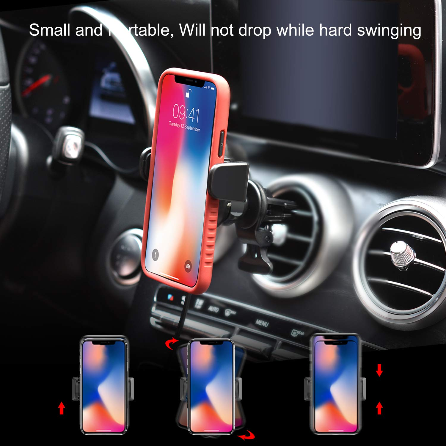 Car Mount Holder Auto Clamping Air Vent Universal Car Phone Holder with Sensor for iPhone Xs XS Max X 8 8 Plus 7 7 Plus SE 6s 6 Plus 6 5s 5 4s car Mount Sensor