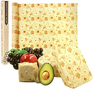 Reusable Beeswax Food Wrap | 13x39 inches Bees Wax Wraps Roll | Eco friendly Sustainable Wrappers | Bee Wrapping Paper |Zero waste food Storage| Alternative to plastic bag