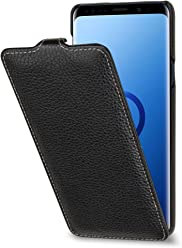 StilGut UltraSlim Case, Custodia Flip Case per Samsung Galaxy S9+ (Plus) in Vera Pelle, Nero