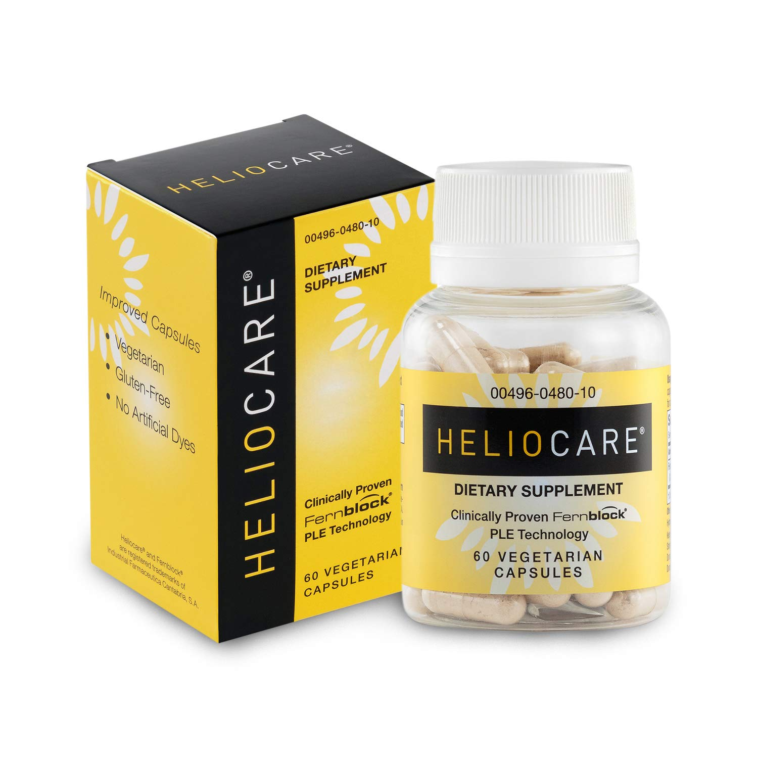 Heliocare Skin Care Dietary Supplement 240mg Polypodium Leucotomos Extract Pills – Antioxidant Rich Formula with Fernblock and PLE Technology – 60 Veggie Capsules