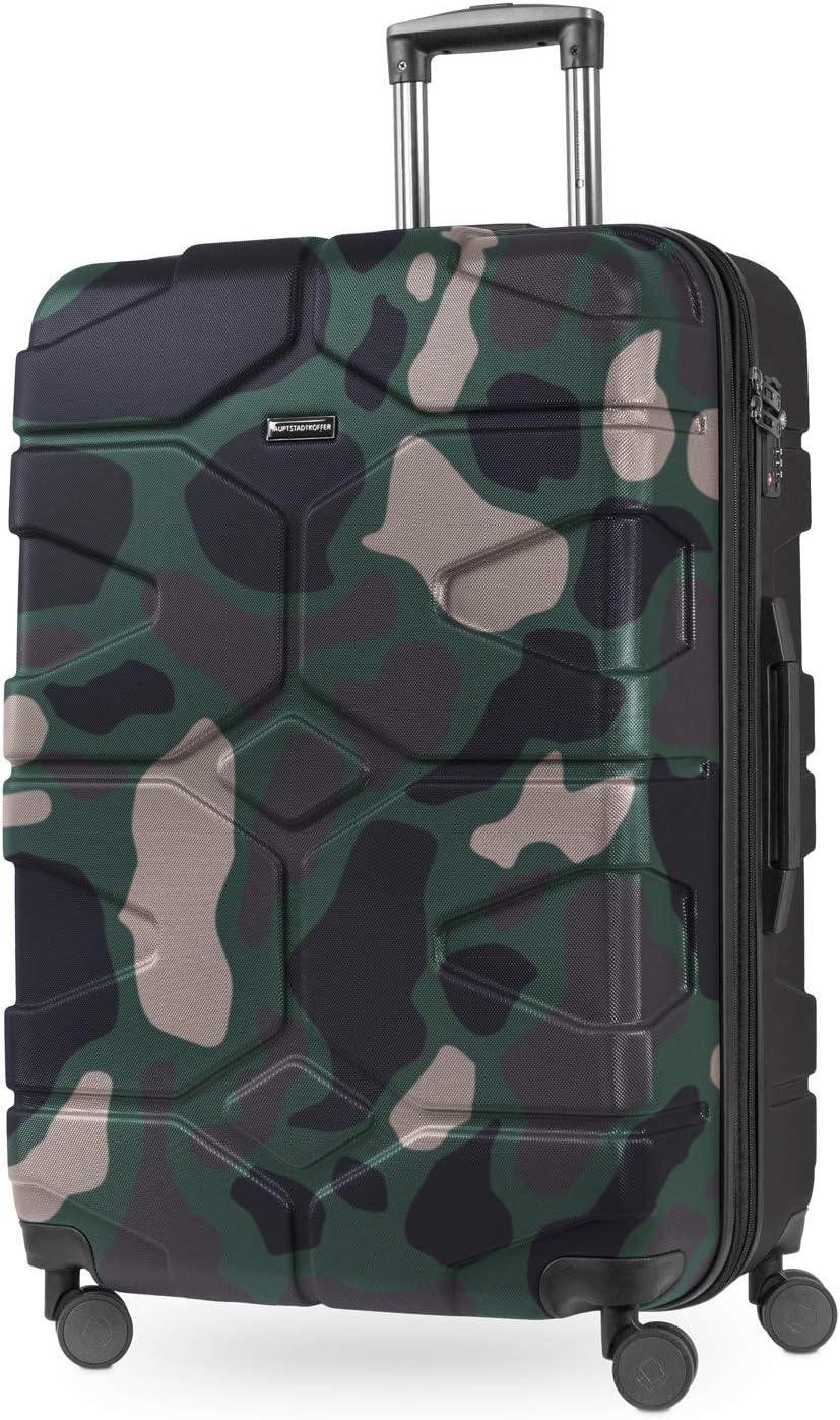 HAUPTSTADTKOFFER - X-Kölln - Maleta rígda, Trolley extensible, ABS, TSA, 76 cm, 120L, Camuflaje