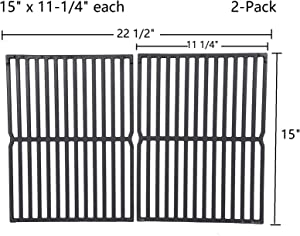 "GasSaf 15"" Grill Grate Replacement for Weber 7522, Spirit 200, Spirit E200, S200, S210, E210, Spirit 500,Genesis Silver A, 2-Pack Cast Iron Grill Grid Grate Replace for Weber 7521, 7523, 65904, 65905"