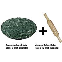 """Handcraftd Marble Chakla Belan Rolling Pin-(9"""" Or 23 cm Diameter) Anti Skid Bottom Ring-Green"""