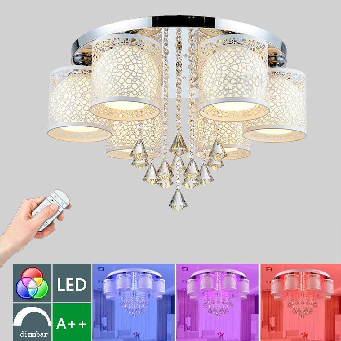 LED Lüster Deckenlampe Modern Dimmbar RGB Kristall Deckenleuchte Hängelampe 6 flammig Deckenstrahler Kronleuchter E27 Innen Leuchter Direkt Beleuchtung für Wohnzimmer Schlafzimmer Warmweiß Licht Ø65CM