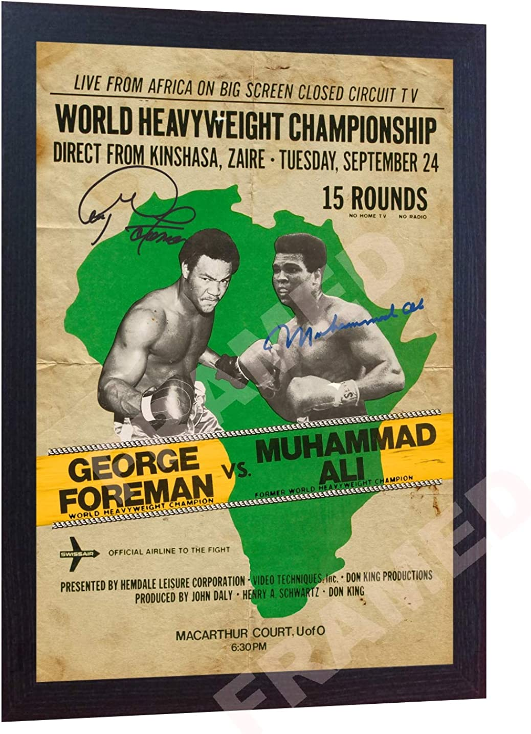 S&E DESING Muhammad ALI George Foreman Old Photo Signed Autographed Poster Vintage Framed Size Including Frame- (13 in x 10 in)