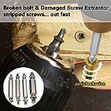JTENG extractor de tornillos velocidad de salida de 4 piezas de extractores de tornillos de perforación del taladro bits puestos de retirada de los tornillos rotos o dañados