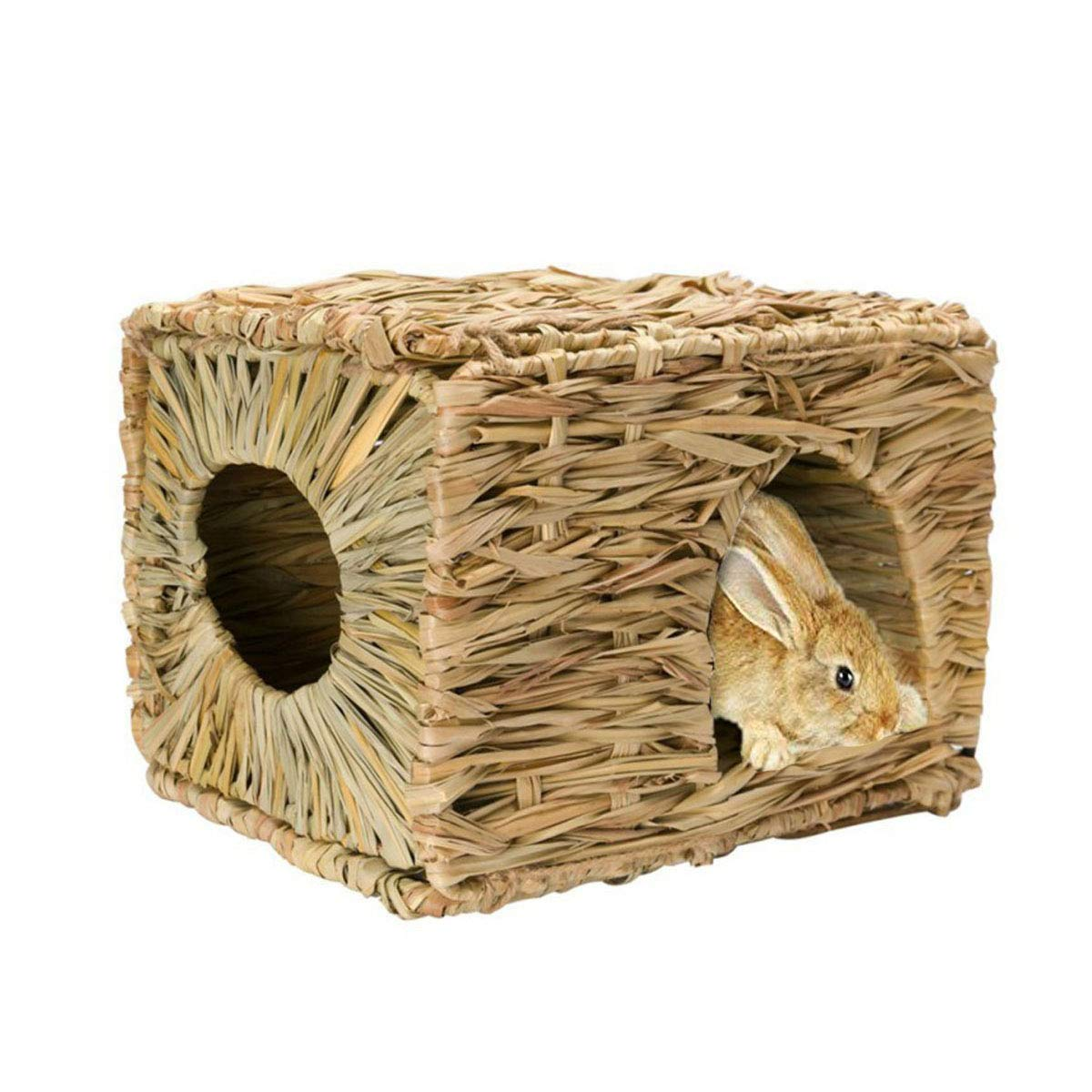 Tfwadmx Rabbit Grass House - Natural Hand Woven Seagrass Play Hay Bed, Hideaway Hut Toy for Bunny Hamster Guinea Pig Chinchilla Ferret by Tfwadmx