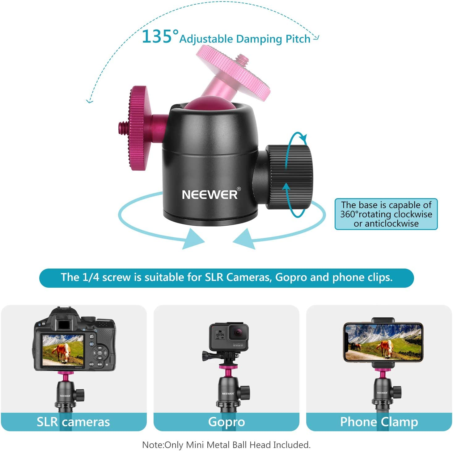 Neewer Kamerastativ Kugelkopf 360 Grad Schwenkung 90 Grad Schwenkung Panorama Kugelkopf mit 1//4 Zoll Schraube f/ür DSLR Kameras Camcorder Stative Einbeinstative Belastung bis zu 5kg