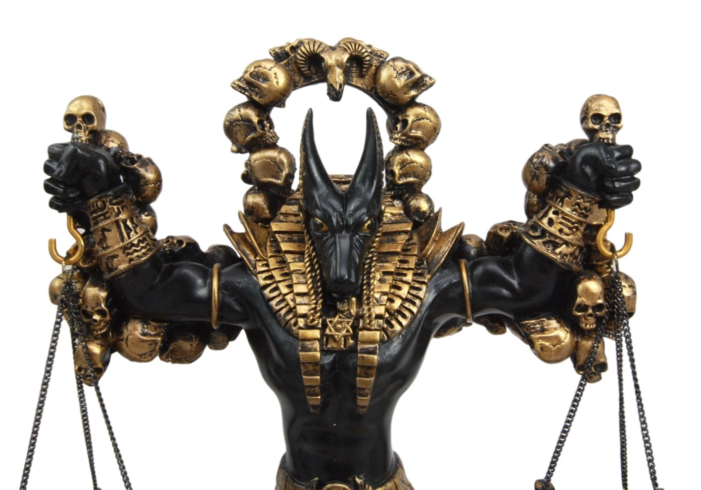 Ebros Ancient Egyptian God Anubis Statue by Ankh Altar Weighing The Heart Against Ostrich Feather Figurine 9 Tall