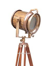 1970'S CLASSICAL DESIGNER VINTAGE LAWSON BRASS ANTIQUE FLOOR SEARCHLIGHT WITH TRIPOD BY NAUTICALMART