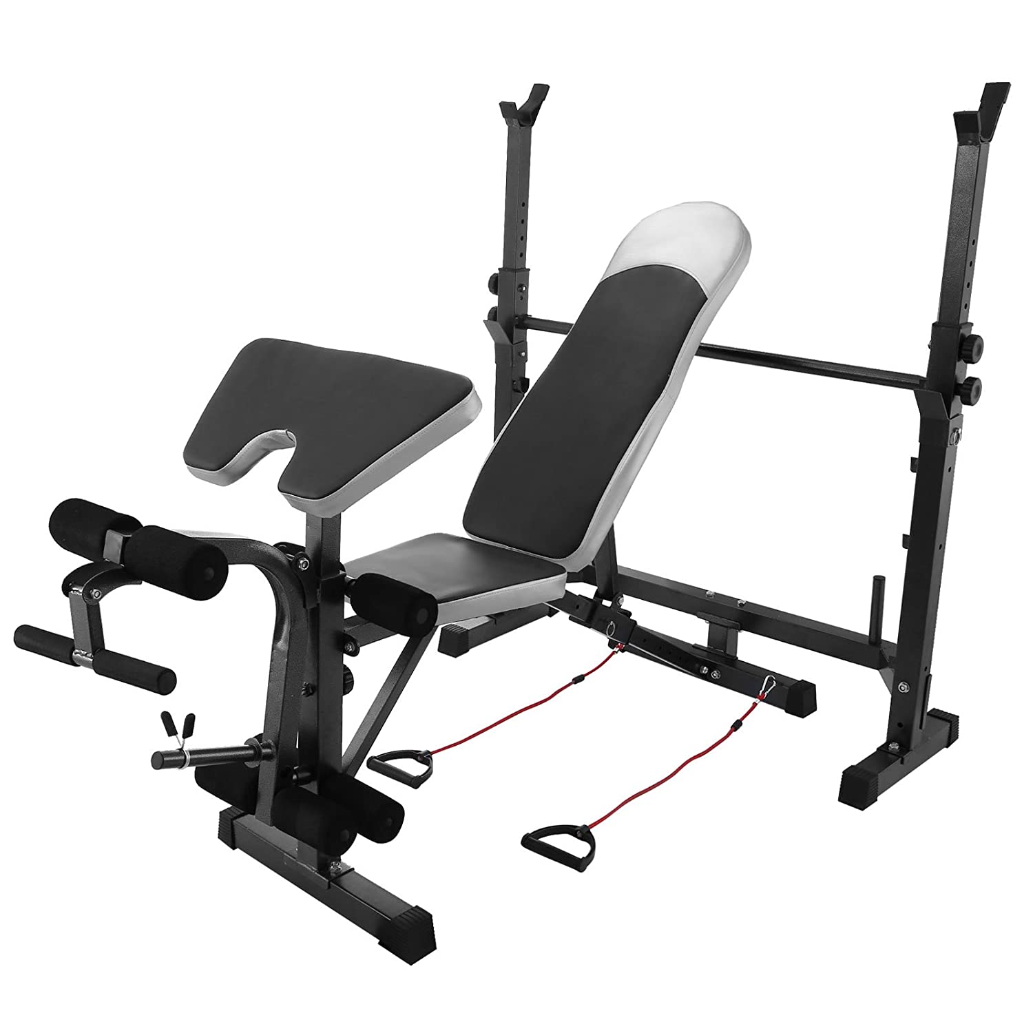 BestEquip Multi-station Weight Bench Adjustable Workout Bench with Leg Extension Incline Flat Decline Sit Up Fitness Equipment for Gym or Home Exercise
