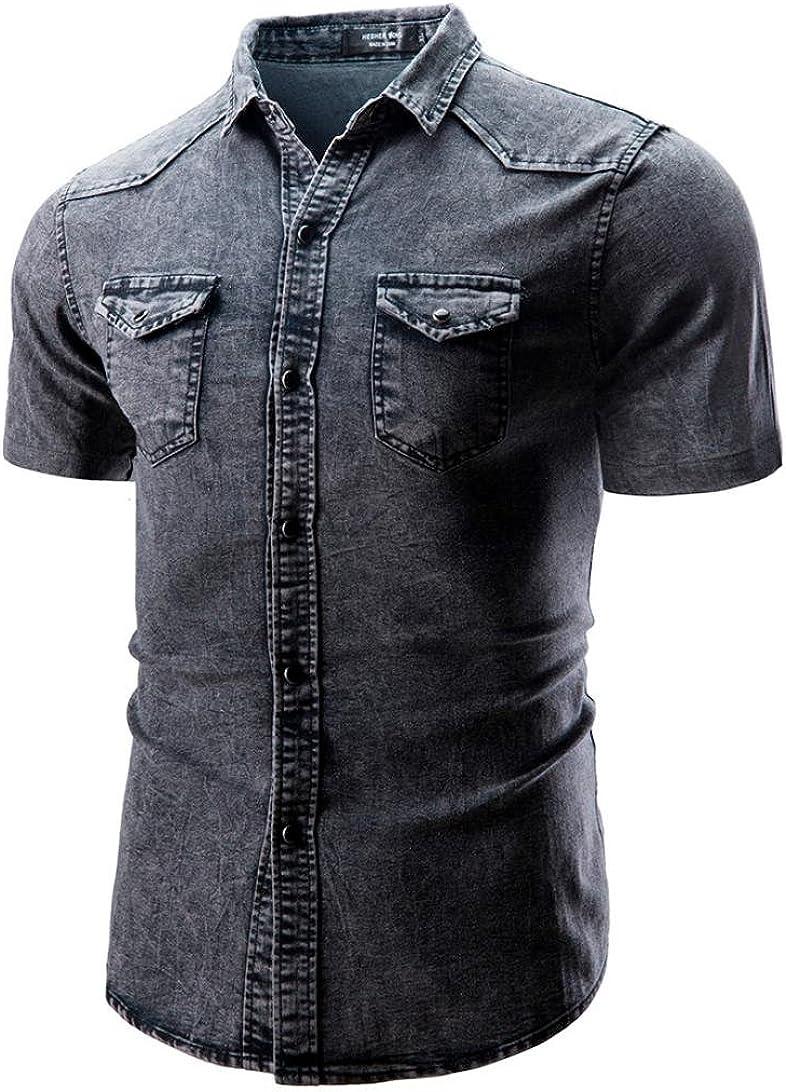 ALIKEEY Camisa De BotóN Corte Slim Casual para Hombre con Blusa Manga Corta Bolsillo Camiseta Camiseta Vestir Fiesta Gemelos Cuadros Elegantes Hilfiger Marca Largas Bolos Bebe Cocinero (Gris, 2XL): Amazon.es: Ropa y