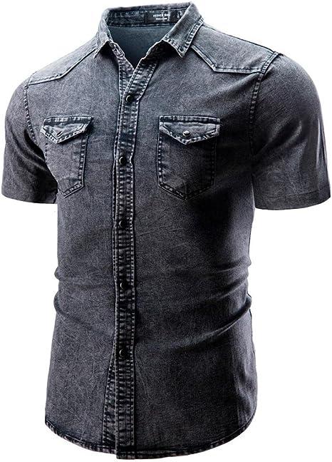 ALIKEEY Camisa De BotóN Corte Slim Casual para Hombre con Blusa ...