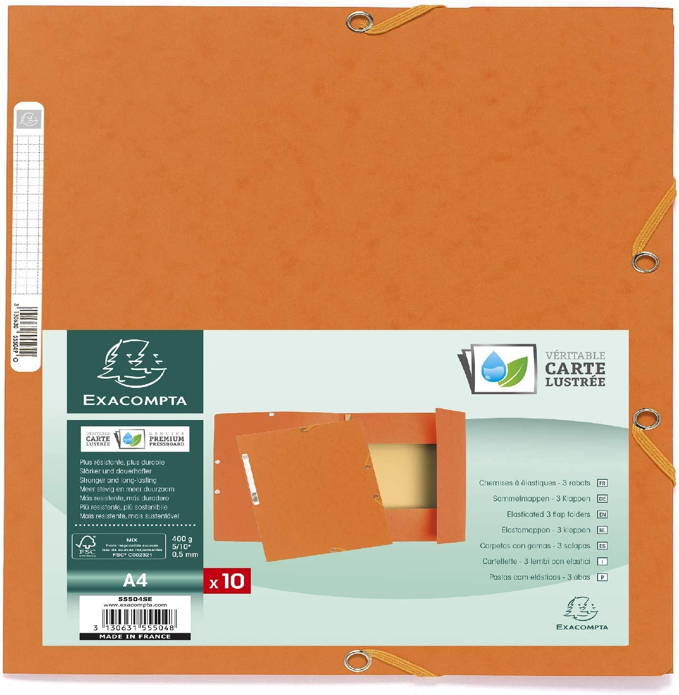 Exacompta 55504SE - Pack de 10 carpetas con goma, A4, color ...