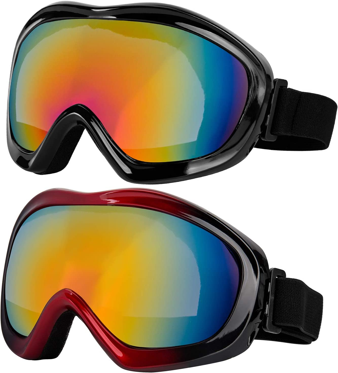 LJDJ Ski Goggles, Pack of 2 – Snowboard Adjustable UV 400 Protective Motorcycle Goggles Outdoor Sports Tactical Glasses Dust-Proof Combat Military Sunglasses for Kids, Boys Girls, Youth, Men, Women