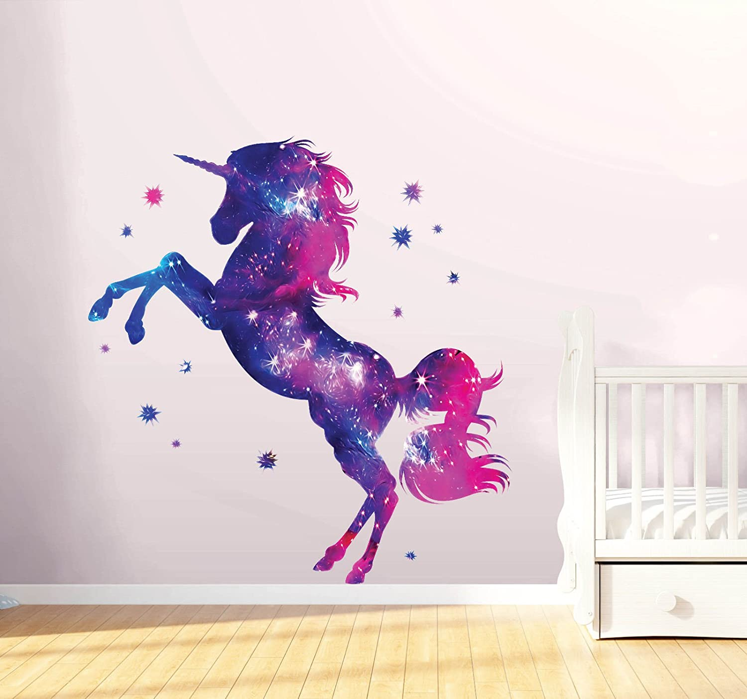 Stars Unicorn Wall Sticker Fantasy Girls Bedroom Wall Art Cute Nursary Decal Boultons Graphics