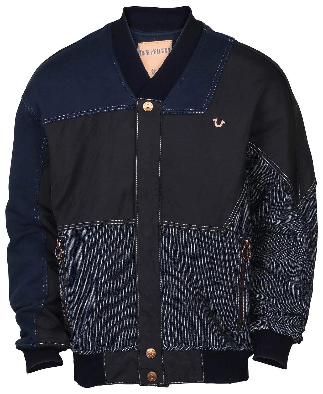 617e96087cb4 True Religion Mens Fabric Blocked Bomber Denim Jacket-Indigo Ace ...