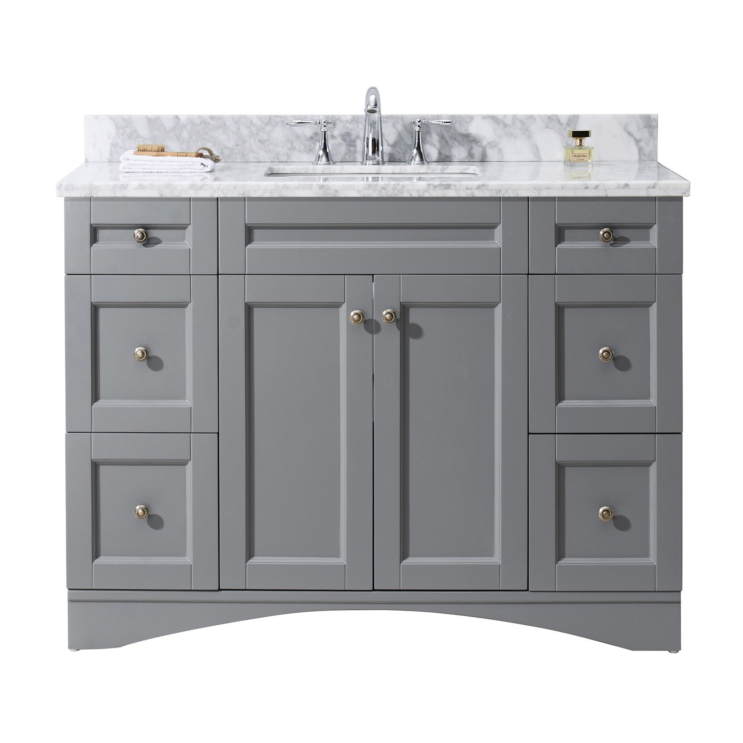 Virtu USA ES-32048-WMSQ-GR-NM Not Applicable Elise 48 inch single Bathroom Vanity In Grey with Marble Top & Square Sink