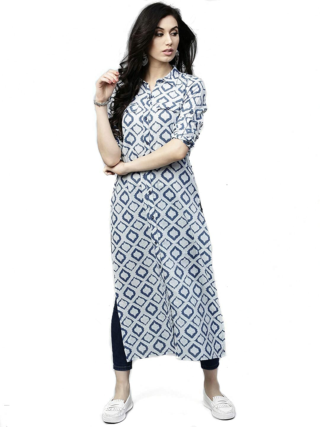 AnjuShree Choice Women Stitched Straight White Blue Printed Cotton Kurti
