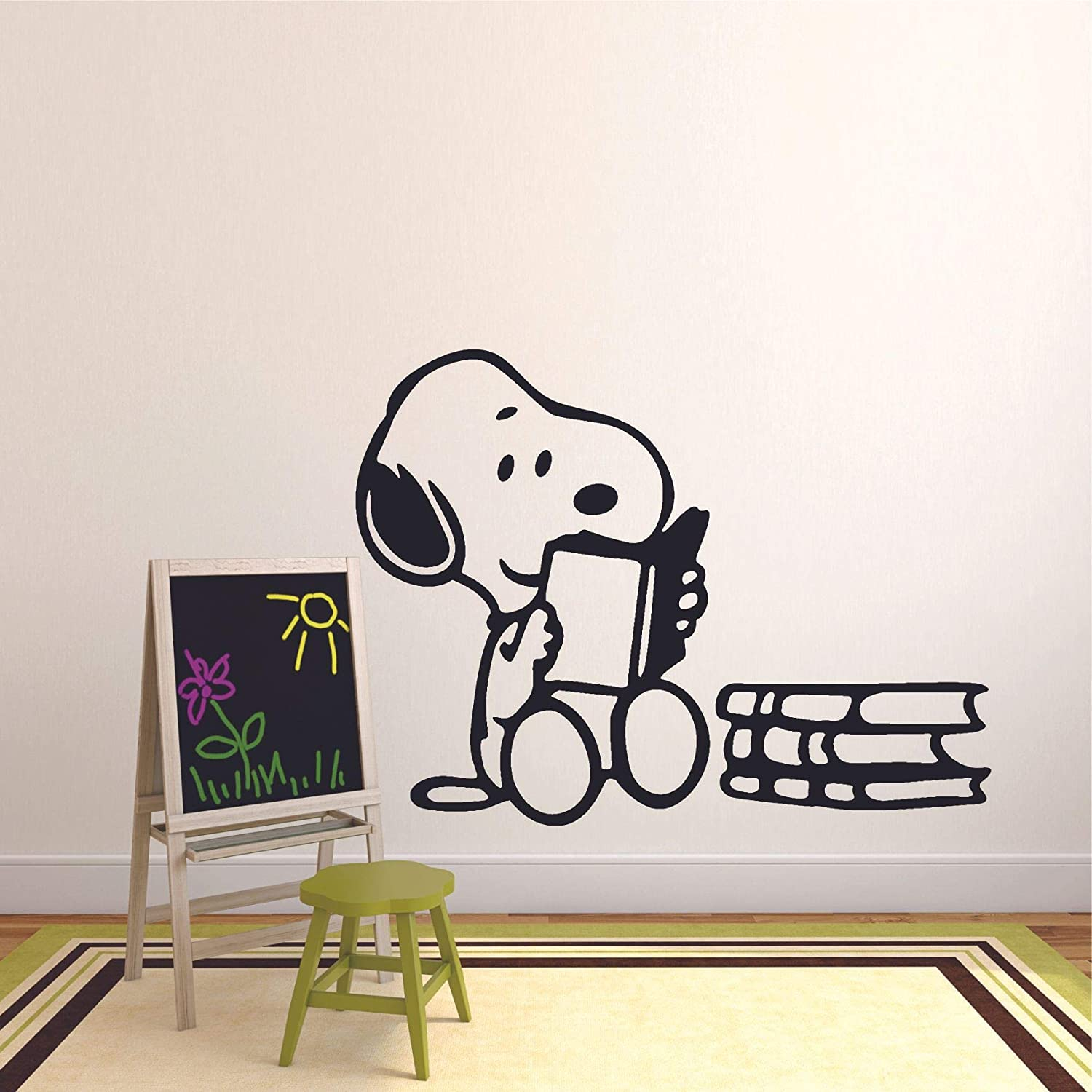 Snoopy Wall Decals for Kids Bedroom//Snoopy Dog Boy Room Decor//Vinyl Art Stickers Decal Childrens Rooms//The Peanuts Movie Cartoon Character Reading Books Fun Dogs Decoration Size 8x10 inch
