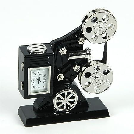 Novelty Film Projector Miniature Clock In Shiny Chrome Black