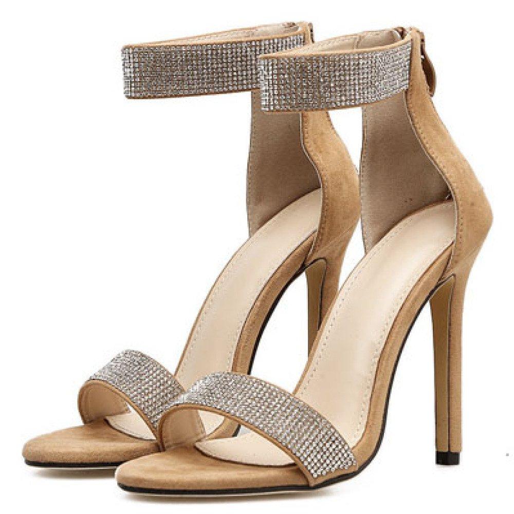 ZYQME Damen Pumps High Heels Strass Knöchelriemen Sexy Open Toe Kleid Party Sandalen Schuhe