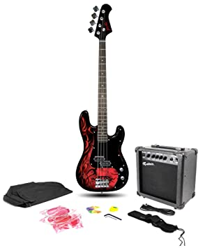 Jaxville PB Style Custom Demon Bass Guitar Pack With Amp Gig Bag Lead
