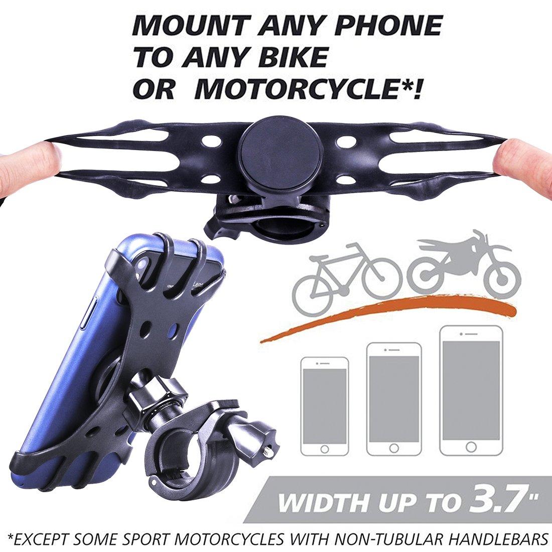 Anti-Shake Fahrradhalterung Motorrad Handy-Halter Universal Radsport Verhütung von Abstürzen Fahrrad-Lenker Handyhalter Wiege Klammer mit 360 Drehen Für 4-6,5 Zoll Smartphone GPS