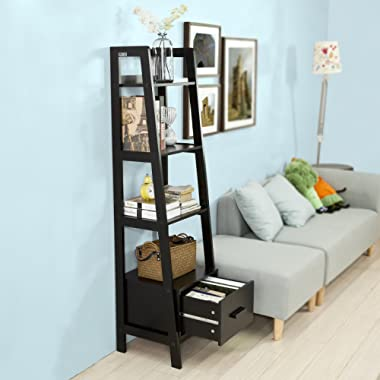 Haotian FRG116-K-SCH, Black Storage Display Shelving Ladder Shelf Bookcase with Drawer and 4 Shelves, Bathroom Cabinet