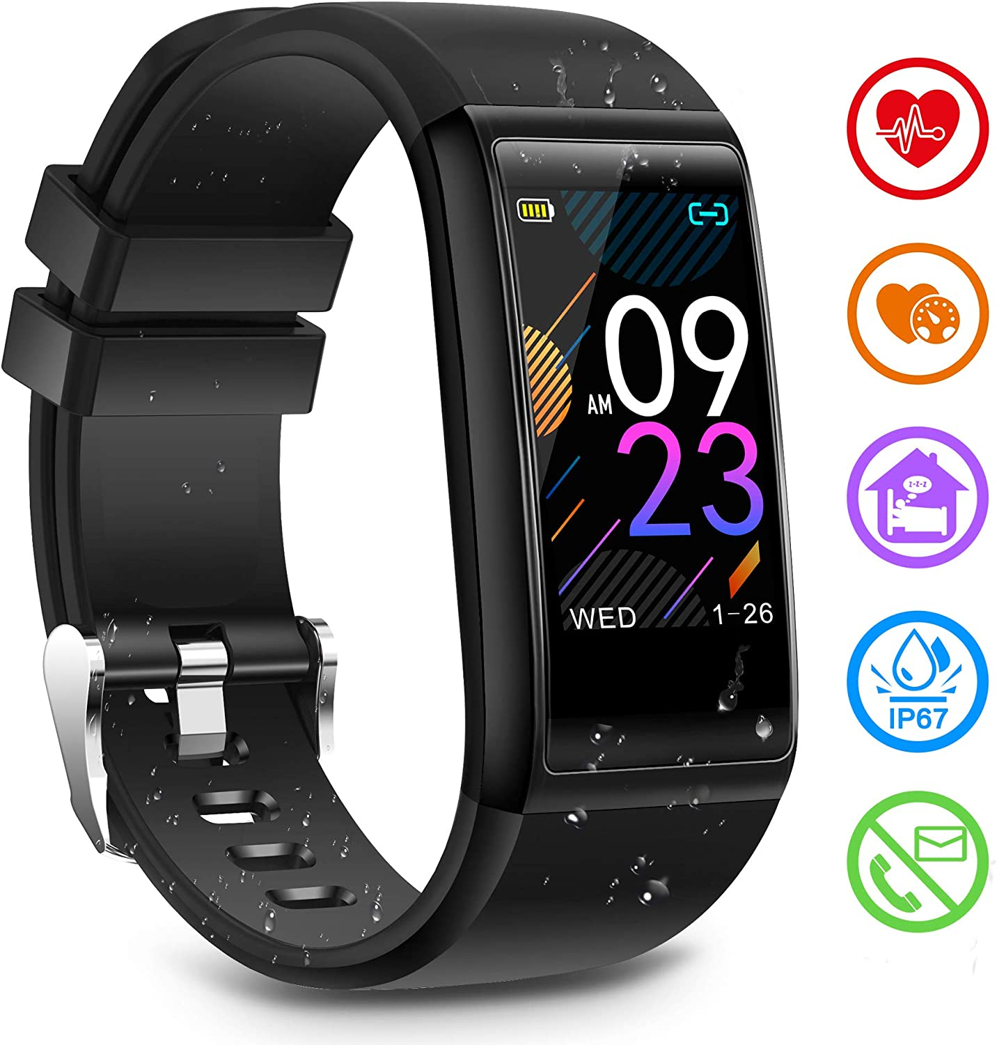 Fitness Tracker Activity Tracker Watch with Heart Rate Blood Pressure Sleep Monitor IP68 Waterproof Smart Watch with Calorie Counter Pedometer Tracker Call SMS Push Fitness Watch for Women Men Kids