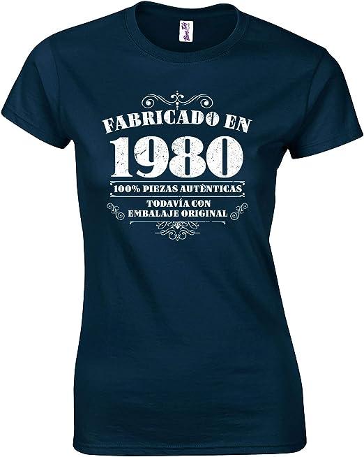 Bang Tidy Clothing Camiseta de Mujer para Regalo de 40 cumpleaños Manufactured 1980: Amazon.es: Ropa y accesorios