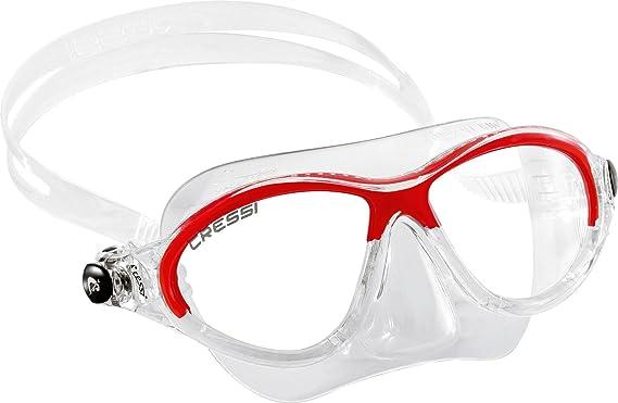 Cressi Kids Moon, Gafas de Snorkel Buceo para Niños, Rojo, 7-15