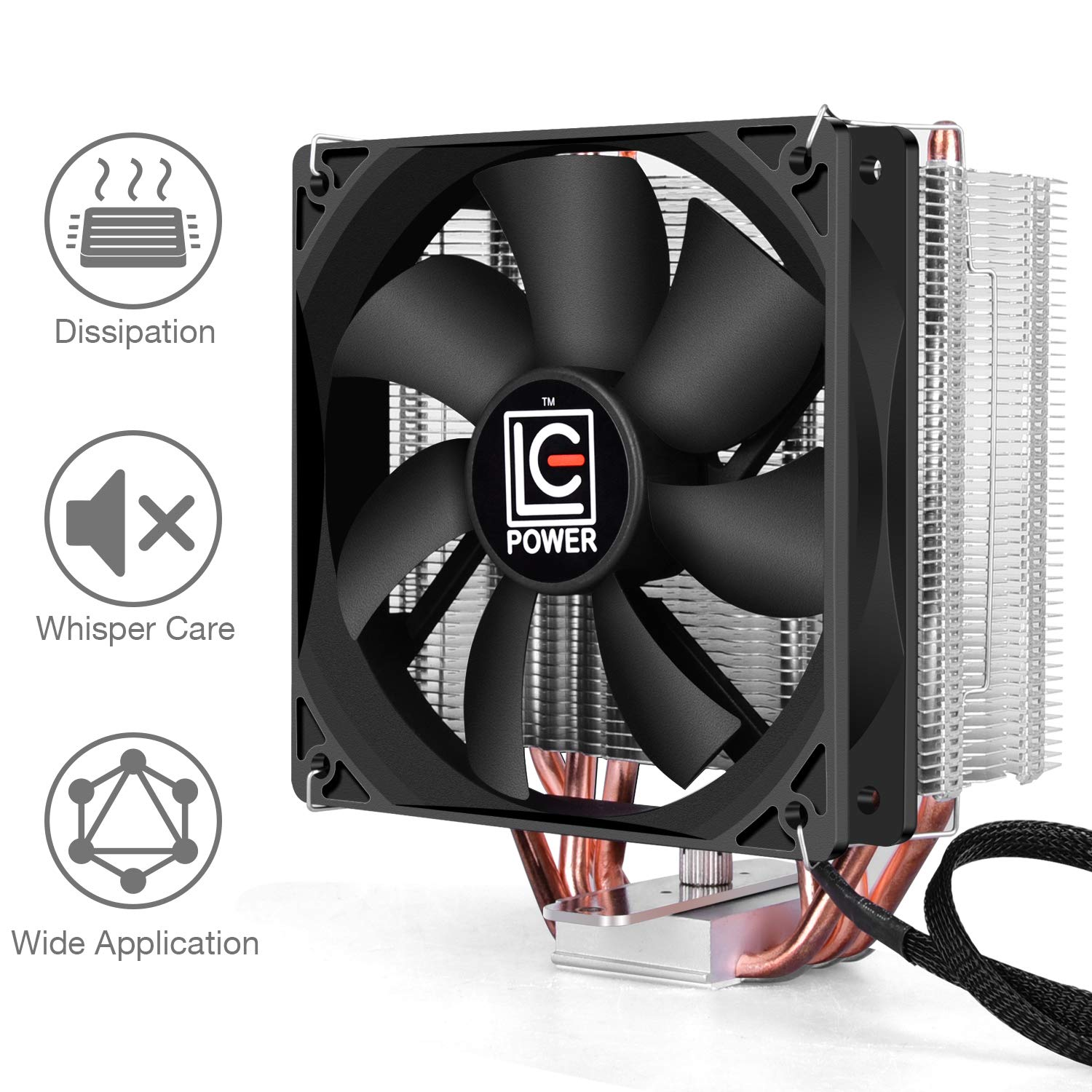 LC-POWER CPU Cooler - Silent CPU Cooler for Computer Gaming High Performance Cooler CPU for LGA 1151, 1155, 1150, 775, AMD3, 4, i5, i7, High Performance & Long Lasting Use, 3 Years Warranty