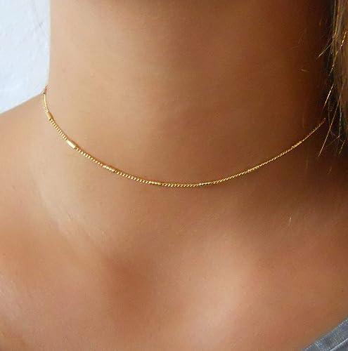 7b7c05c0c61d8 Amazon.com: Delicate Gold Choker - Chain With Tiny Tubes: Handmade